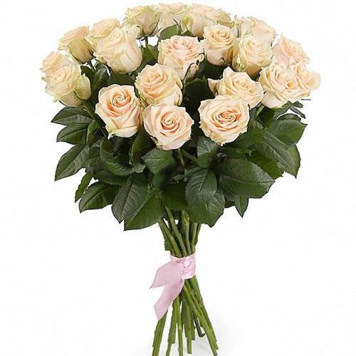 фото букета 21 кремовая роза