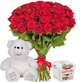 "ajnj gjlfhrf 51 роза, мишка и ""Raffaello"""