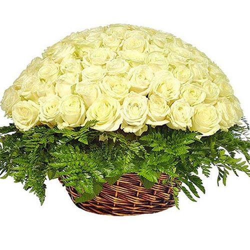 фото Корзина 101 белая роза
