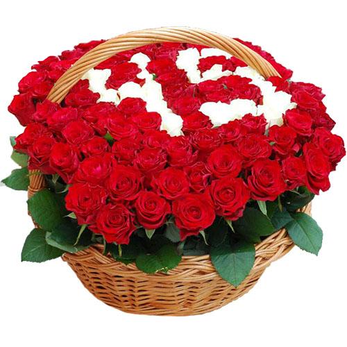 101 роза в корзине с числами фото букета