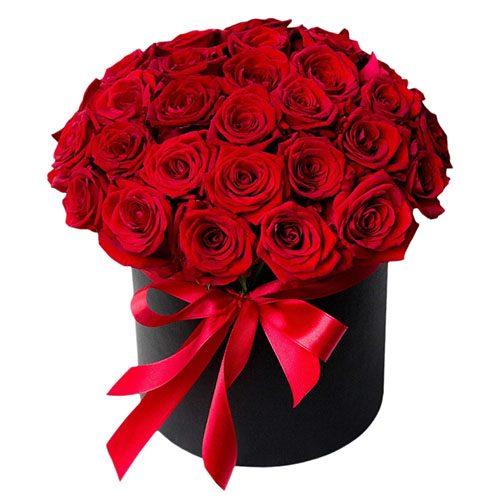 33 розы в шляпной коробке фото товара
