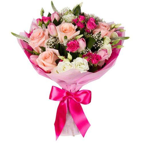 """Букет """"Блеск"""" микс цветов в розовых тонах"""