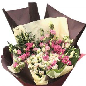 букет Кустовая роза с эустомой