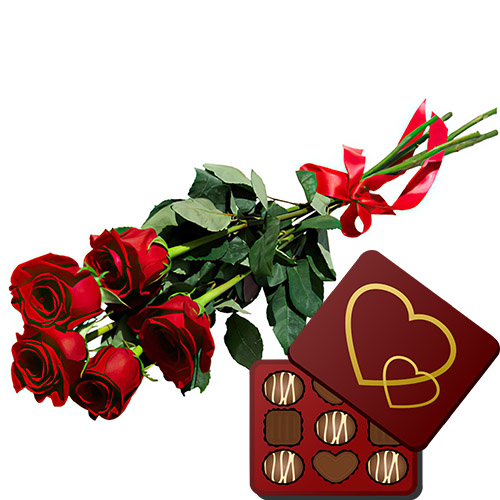 5 красных роз с конфетами товар