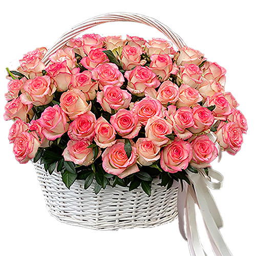 "букет 51 роза ""Джумилия"" в корзине"