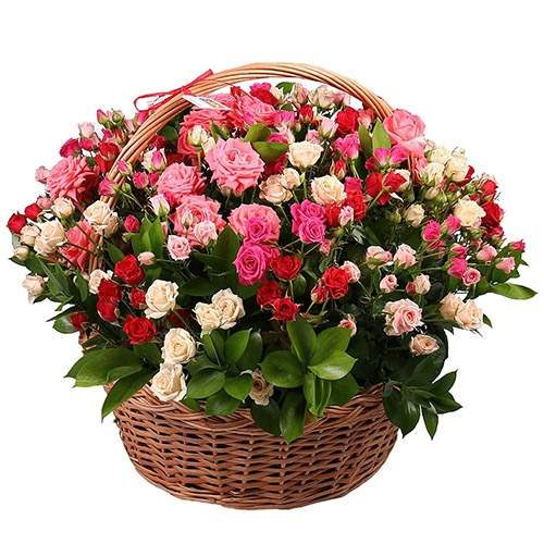 Фото товара 101 кустовая роза  в корзине в Житомире