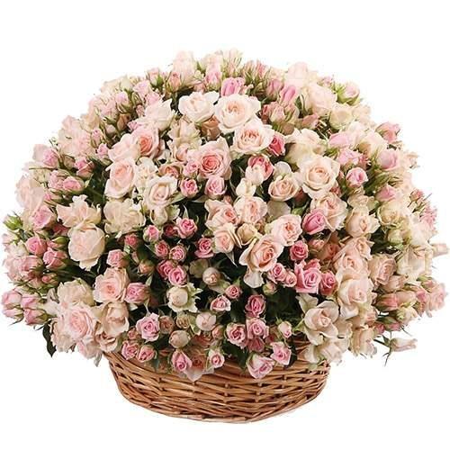 Фото товара 201 кустовая роза  в корзине в Житомире