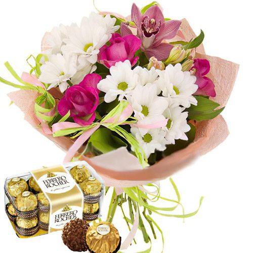 """Фото товара Букет """"С днём рождения"""" и конфеты в Житомире"""