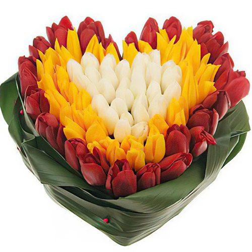 """Фото товара 151 тюльпан сердцем """"Краски весны"""" в Житомире"""