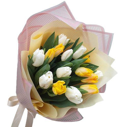 Фото товара 15 бело-жёлтых тюльпанов в Житомире