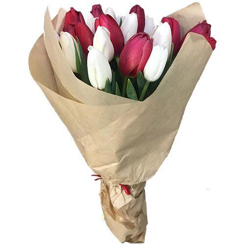 Фото товара 21 красно-белый тюльпан в крафт в Житомире