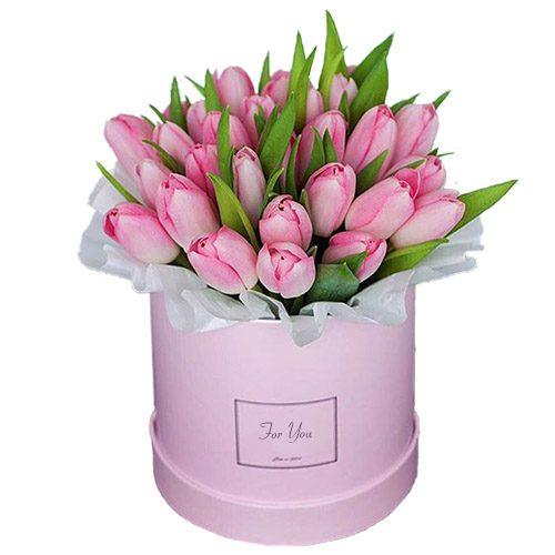 Фото товара 31 нежно-розовый тюльпан в коробке в Житомире