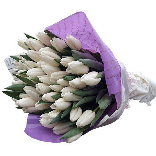 """Фото товара 45 белых тюльпанов """"Ангел мой"""" в Житомире"""