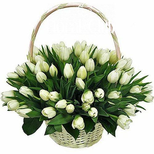 """Фото товара """"Сахарная вата"""" 51 белый тюльпан в корзине в Житомире"""