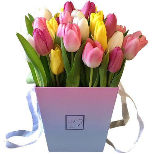 """Фото товара 31 тюльпан """"Весенний ветер"""" в квадратной коробке в Житомире"""