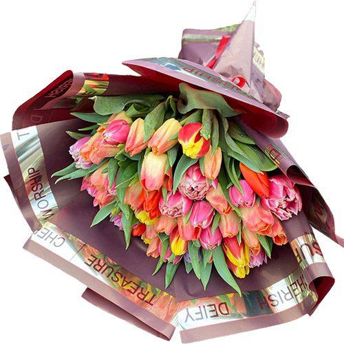 """Фото товара Букет """"Багряное солнце"""" (51 тюльпан) в Житомире"""