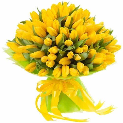 """Фото товара 75 жёлтых тюльпанов """"Сияние золота"""" в Житомире"""