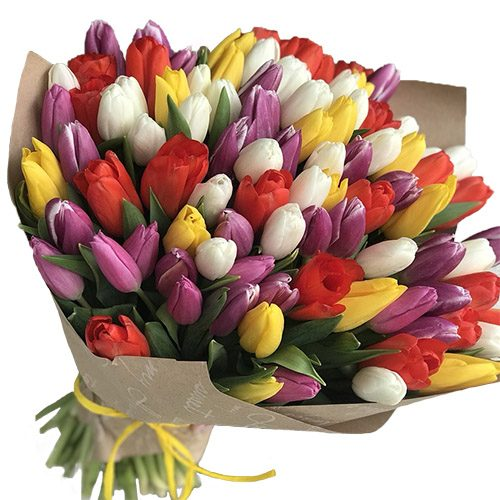 Фото товара 101 тюльпан микс (4 цвета) в крафт в Житомире