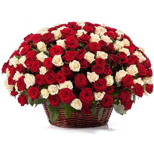 Фото товара 101 роза микс в корзине в Житомире