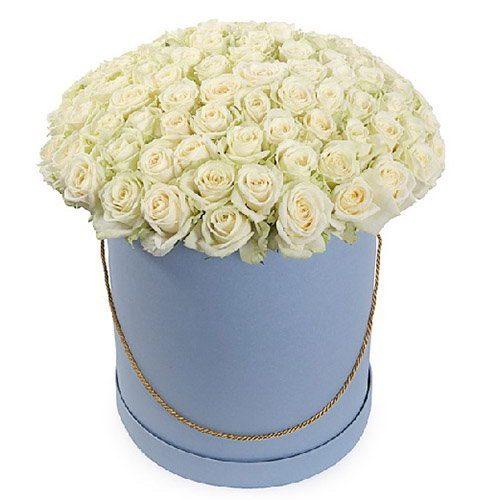 Фото товара 101 роза белая в шляпной коробке в Житомире