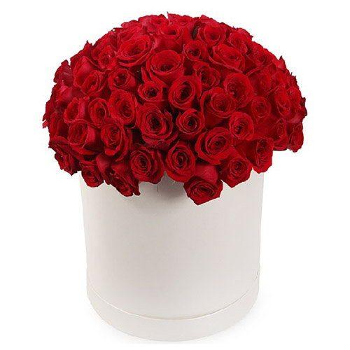 Фото товара 101 роза красная в шляпной коробке в Житомире