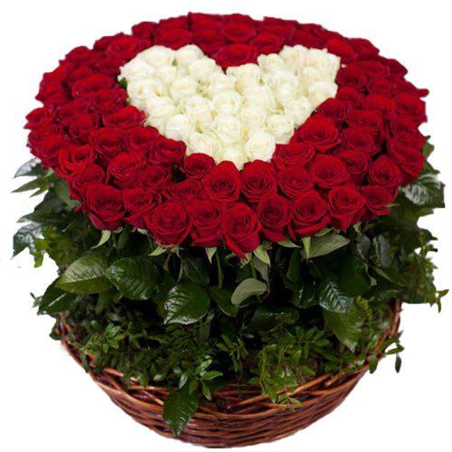 Фото товара 101 роза сердце в корзине в Житомире