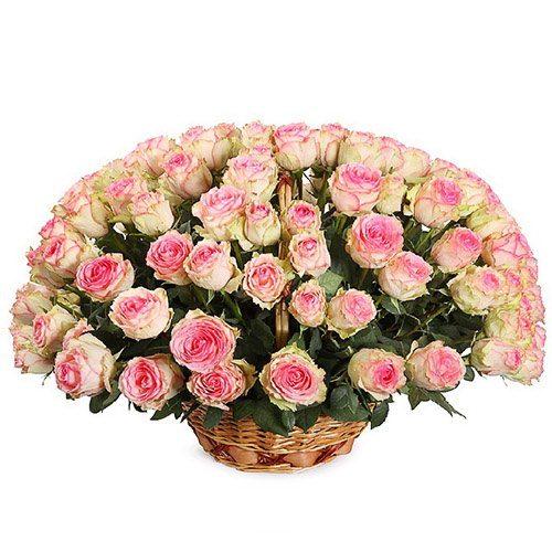 Фото товара 101 розовая роза в корзине в Житомире