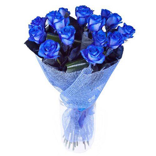 Фото товара 17 синих роз (крашеных) в Житомире