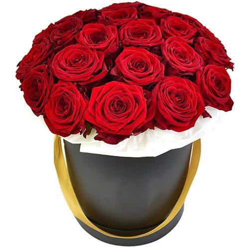 Фото товара 21 роза в шляпной коробке в Житомире