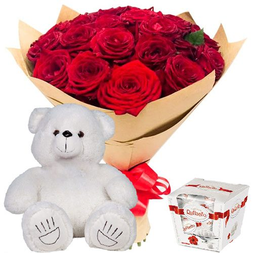 "Фото товара 25 роз, ""Raffaello"" и мишка в Житомире"