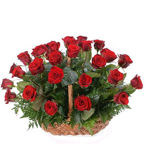 Фото товара 35 красных роз в корзине в Житомире
