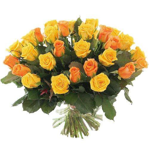 Фото товара 51 желтая и кремовая роза в Житомире