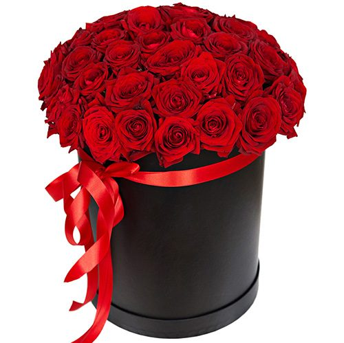 Фото товара 51 роза красная в шляпной коробке в Житомире