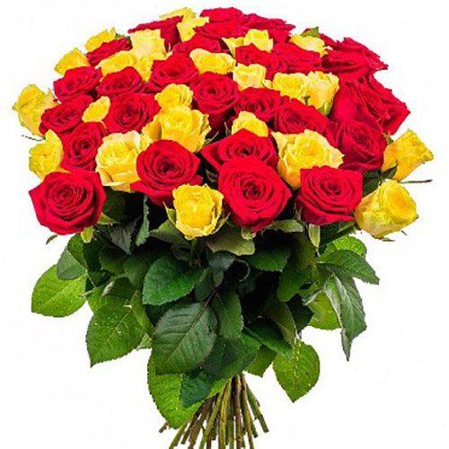 Фото товара 51 роза красная и желтая в Житомире