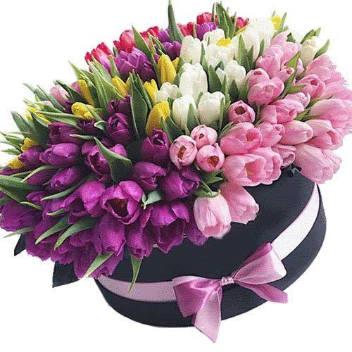 Фото товара 151 тюльпан в шляпной коробке в Житомире