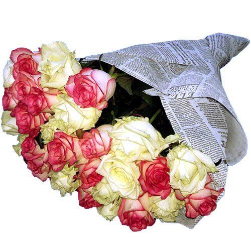 Фото товара 33 кремовые и розовые розы в Житомире