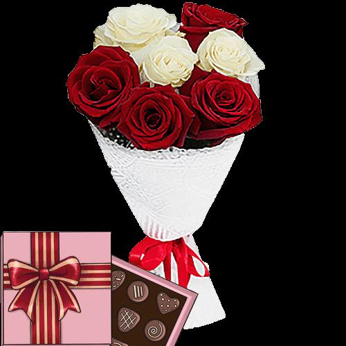Фото товара 7 роз микс с конфетами в Житомире