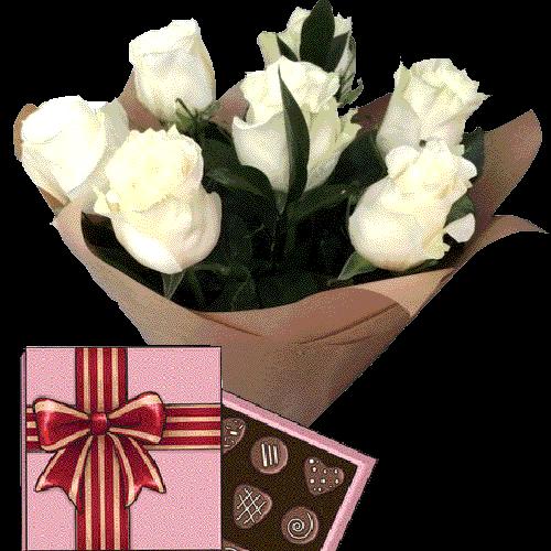 Фото товара 7 белых роз с конфетами в Житомире