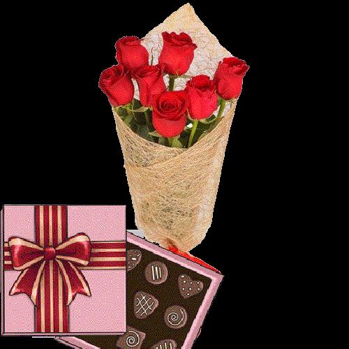 Фото товара 7 красных роз с конфетами в Житомире