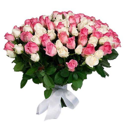 Фото товара 101 белая и розовая роза в Житомире