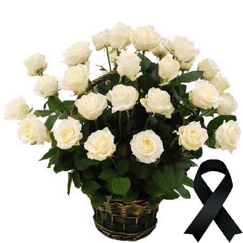Фото товара 36 белых роз в корзине в Житомире