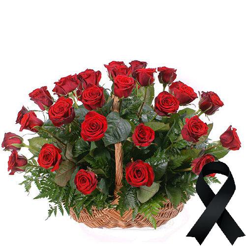 Фото товара 36 красных роз в корзине в Житомире
