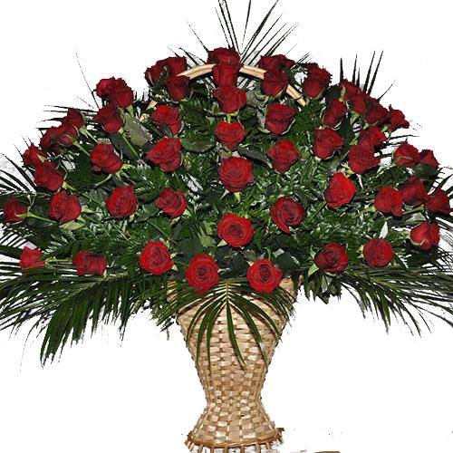 Фото товара Корзина 100 роз в папоротнике в Житомире