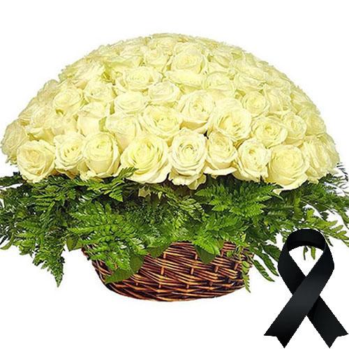 Фото товара 100 белых роз в корзине в Житомире