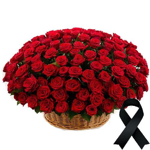 Фото товара 100 красных роз в корзине в Житомире