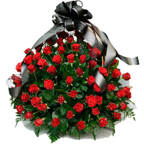 """Фото товара 100 алых роз """"Пламя"""" в корзине в Житомире"""